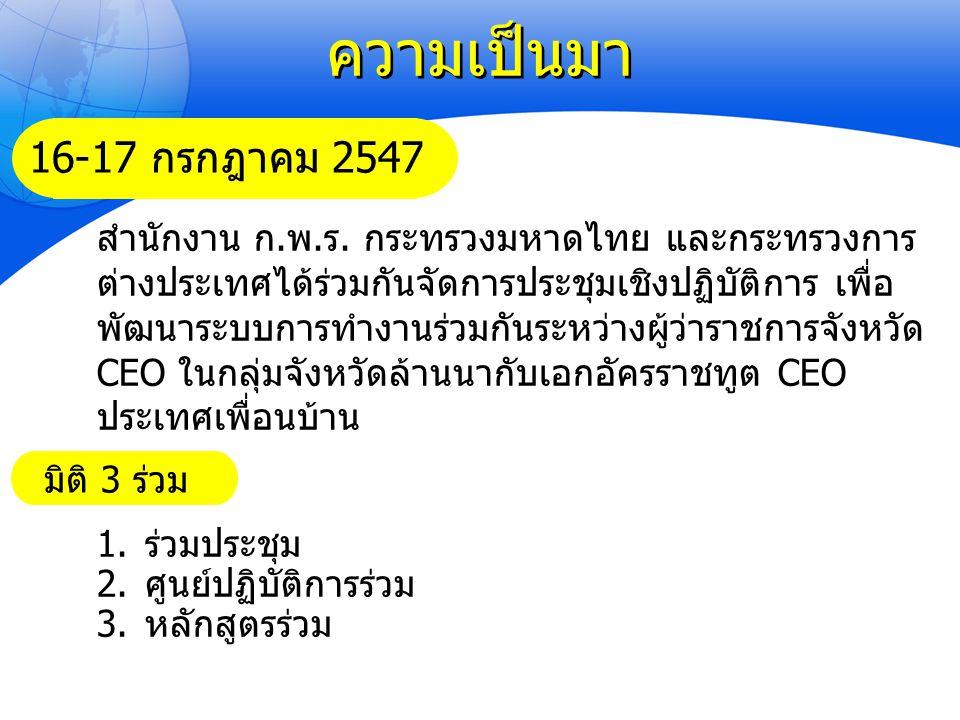 ความเป็นมา สำนักงาน ก.พ.ร. กระทรวงมหาดไทย และกระทรวงการ ต่างประเทศได้ร่วมกันจัดการประชุมเชิงปฏิบัติการ เพื่อ พัฒนาระบบการทำงานร่วมกันระหว่างผู้ว่าราชก