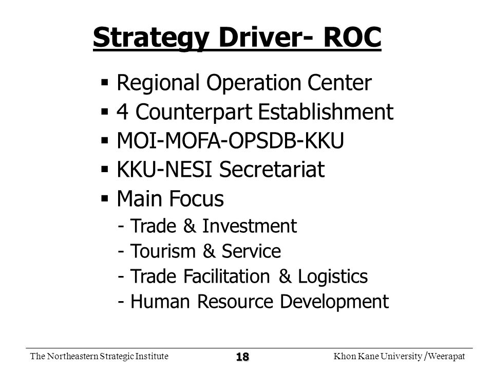 The Northeastern Strategic InstituteKhon Kane University /Weerapat 18 Strategy Driver- ROC  Regional Operation Center  4 Counterpart Establishment 