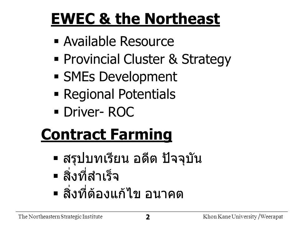 The Northeastern Strategic InstituteKhon Kane University /Weerapat 13 เลย - ไชยะบุรี มุกดาหาร - สหวันเขต นครพนม - คำม่วน Cont ract Farm ing อุบลราชธานี - จำปาศักดิ์
