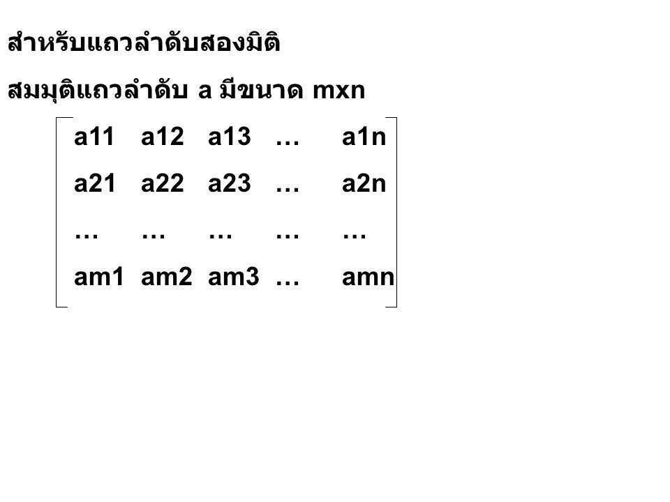 สำหรับแถวลำดับสองมิติ สมมุติแถวลำดับ a มีขนาด mxn a11a12a13…a1n a21a22a23…a2n …………… am1am2am3…amn