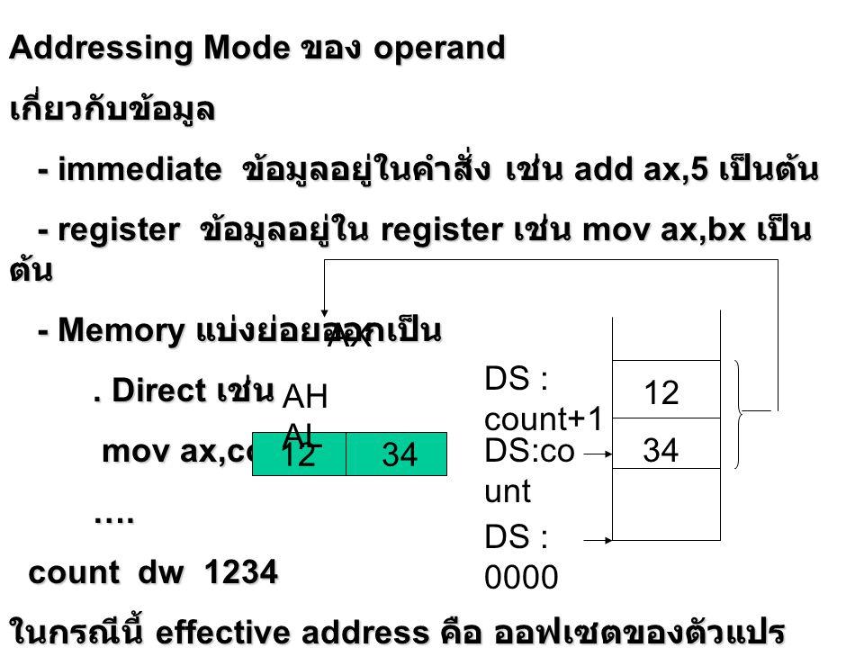 . register indirect [ BP ] [ BP ] [ BX ] [ BX ] [ DI ] [ DI ] [ SI ] [ SI ] ค่าใน BP เป็นออฟเซตห่างจาก SS หรือค่าใน BX, DI, SI เป็นออฟเซตห่างจาก DS เช่น mov ax,[bx] AB CD AX AH AL 01 05 BX BH BL AB CDDS:0 105 DS : 0106