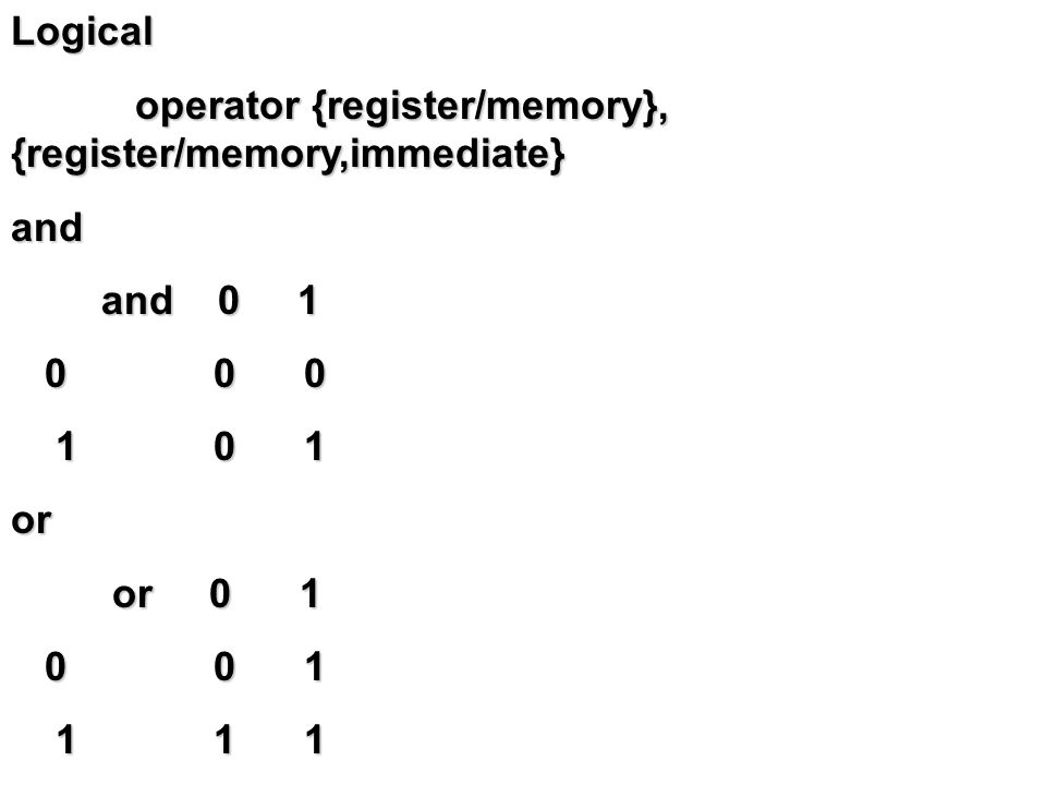 xor xor 0 1 xor 0 1 0 0 1 0 0 1 1 1 0 1 1 0not not 0 1 not 0 1 1 0 1 0 หมายเหตุ ทำ one complement สำหรับ neg ทำ two complement test เหมือน and แต่ผลลัพธ์ไม่เปลี่ยน เปลี่ยนเฉพาะ flag ต่างๆ ที่เกี่ยวข้อง เหมือน and แต่ผลลัพธ์ไม่เปลี่ยน เปลี่ยนเฉพาะ flag ต่างๆ ที่เกี่ยวข้อง