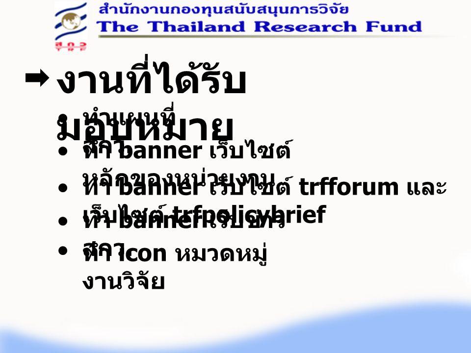 งานที่ได้รับ มอบหมาย ทำแผนที่ สกว. ทำ banner เว็บไซต์ หลักของหน่วยงาน ทำ banner เว็บไซต์ trfforum และ เว็บไซต์ trfpolicybrief ทำ banner เว็บข่าว สกว.