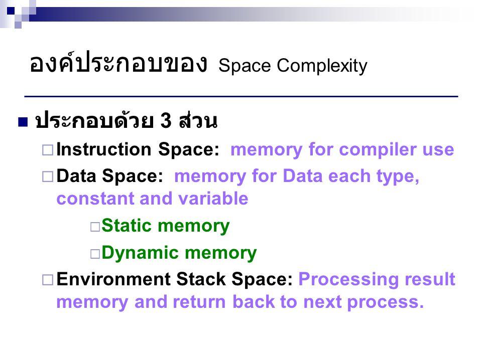 Example for Space Complexity Swap between 2 values Procedure Swap (num1, num2 : integer); var temp : integer; Begin temp := num1; num1 := num2; num2 := temp; end