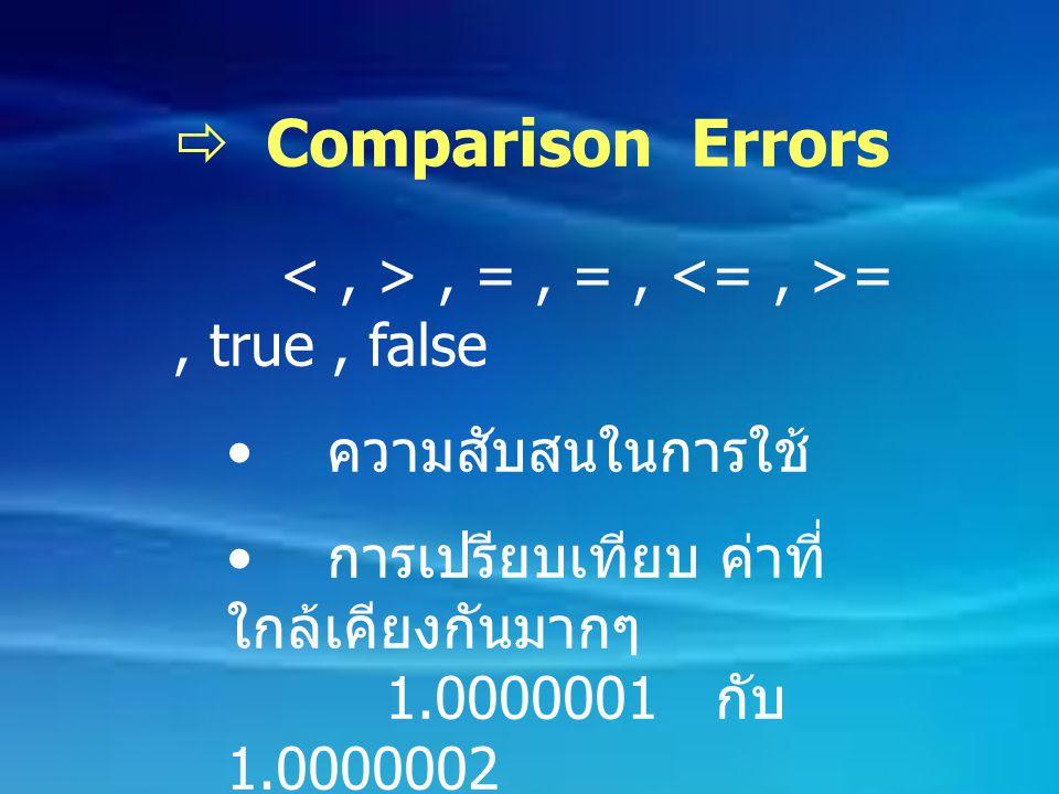  Comparison Errors, =, =, =, true, false ความสับสนในการใช้ การเปรียบเทียบ ค่าที่ ใกล้เคียงกันมากๆ 1.0000001 กับ 1.0000002 การใช้ Boolean expression