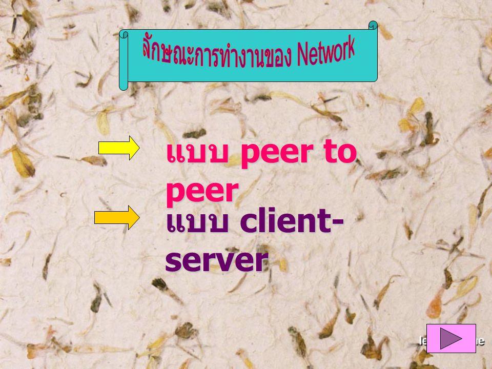 แบบ peer to peer แบบ client- server