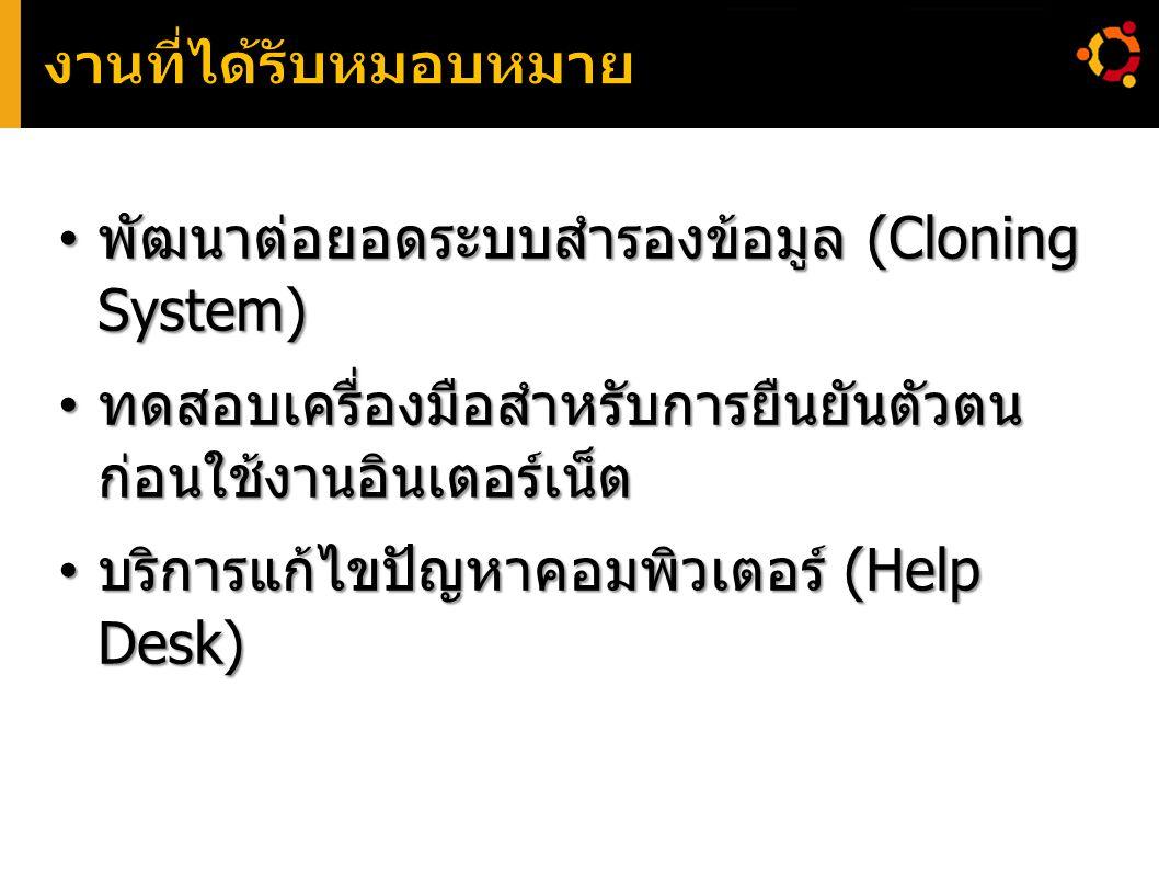 พัฒนาต่อยอดระบบสำรองข้อมูล (Cloning System) พัฒนาต่อยอดระบบสำรองข้อมูล (Cloning System) ทดสอบเครื่องมือสำหรับการยืนยันตัวตน ก่อนใช้งานอินเตอร์เน็ต ทดส