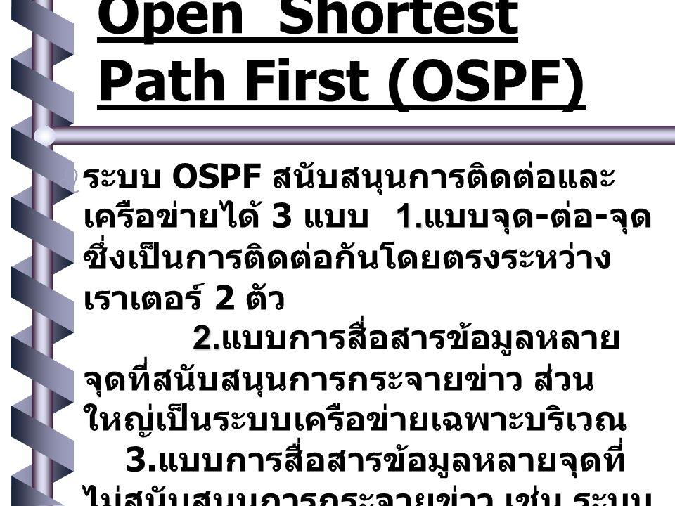  ภาพนิ่ง 10  OSPF ทำงานโดยรวบรวม เครือข่าย ที่มีอยู่, เราเตอร์ และสายสื่อสารเข้า ไว้ด้วยกันในลักษณะของรูปกราฟ แบบมีทิศทาง (directed graph) ภาพนิ่ง 10 ภาพนิ่ง 10 ภาพนิ่ง 10   OSPF ซึ่งมีหลักสำคัญคือ การสร้าง ตัวแทนเครือข่ายด้วยรูปกราฟ แล้ว จึงคำนวณหาเส้นทางที่สั้นที่สุด ระหว่าง เราเตอร์แต่ละตัวไปยังเรา เตอร์ตัวอื่นทั้งหมด Open Shortest Path First (OSPF) NEXT