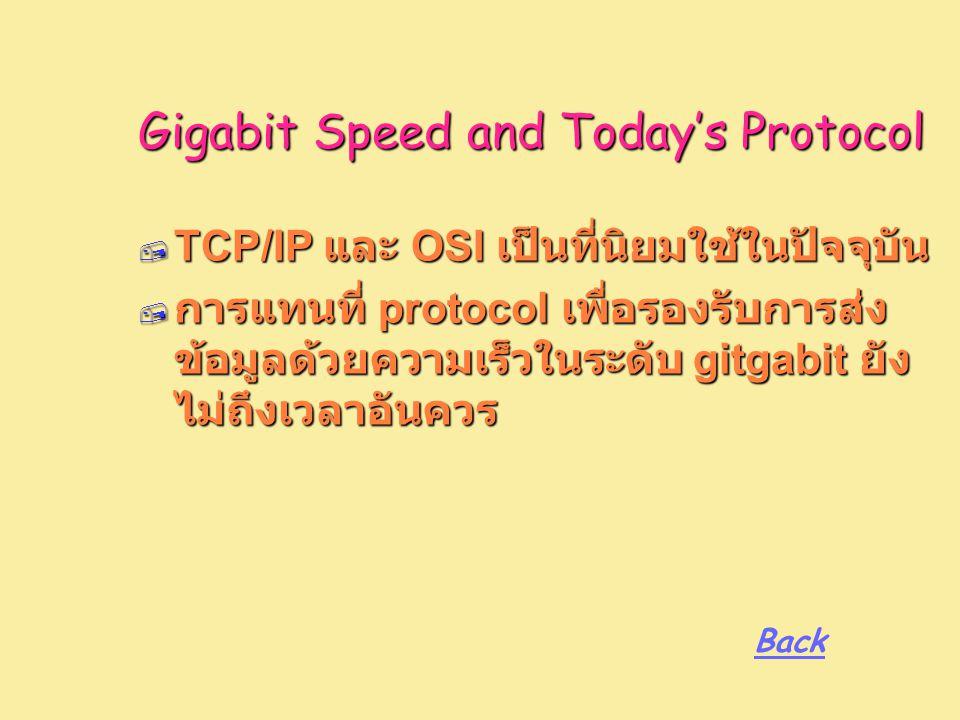 Gigabit Speed and Today's Protocol  TCP/IP และ OSI เป็นที่นิยมใช้ในปัจจุบัน  การแทนที่ protocol เพื่อรองรับการส่ง ข้อมูลด้วยความเร็วในระดับ gitgabit ยัง ไม่ถึงเวลาอันควร Back