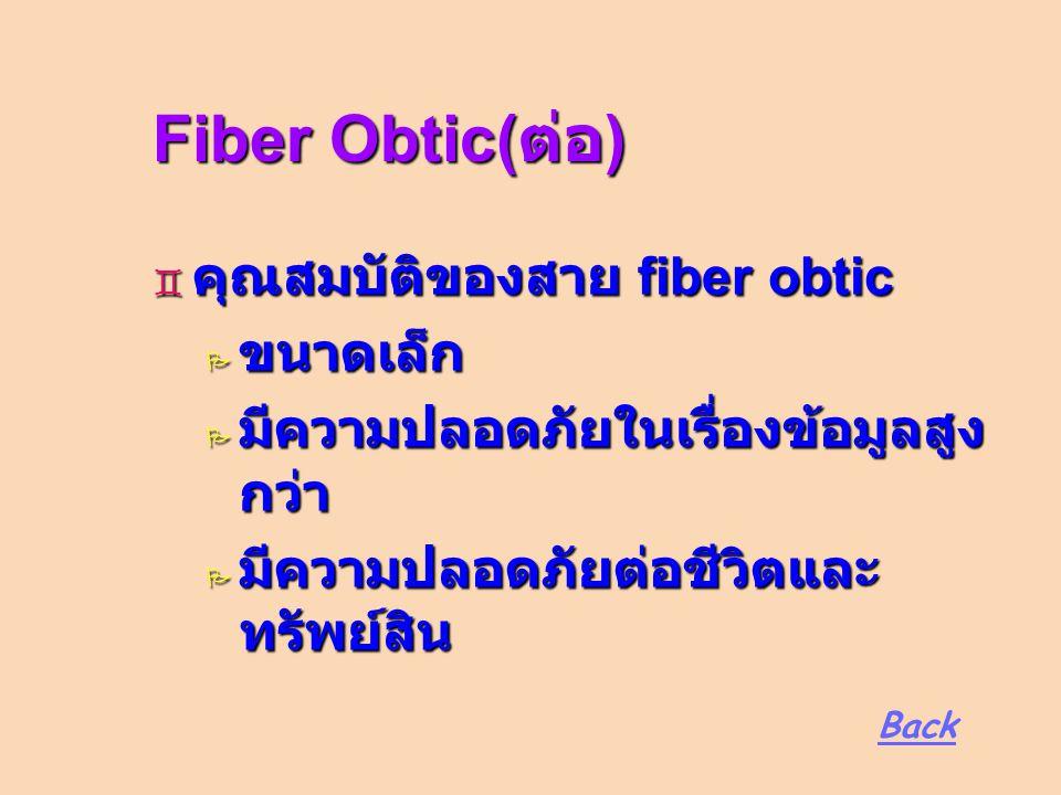 Fiber Obtic( ต่อ )  คุณสมบัติของสาย fiber obtic  ขนาดเล็ก  มีความปลอดภัยในเรื่องข้อมูลสูง กว่า  มีความปลอดภัยต่อชีวิตและ ทรัพย์สิน Back