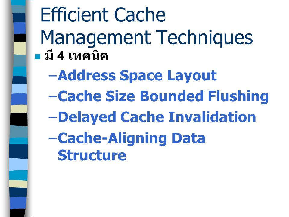 Efficient Cache Management Techniques การตัดสินประสิทธิภาพของ Cache ขึ้นอยู่กับ 3 ปัจจัย –Locality of Reference –Physical design –Cache Management Tec