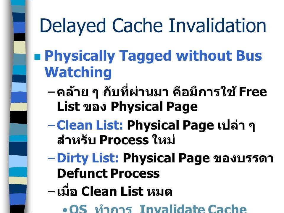 Delayed Cache Invalidation Virtual Cache with Key – รอจนระบบใช้ Key ที่ว่างอยู่หมด และ ต้องการใช้ Key ของ Defunct Process ==> Invalidate –Unused Key L