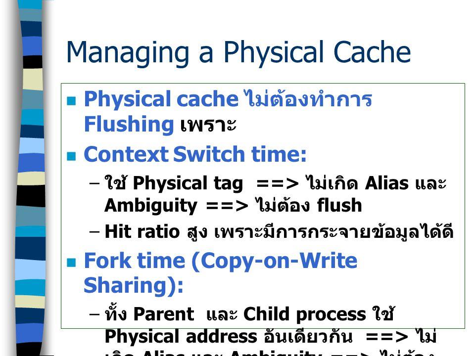 Physical Cache Organization ในระบบที่ไม่มี Physical cache: ข้อมูล ของ Process ที่ไม่เกี่ยวข้องกัน อาจจะ อยู่ใน Virtual address เดียวกัน (Virtual Line
