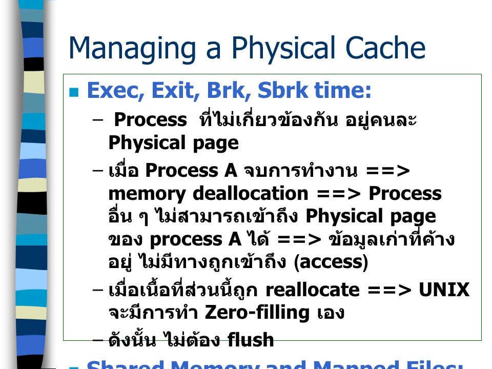 Efficient Cache Management Techniques มี 4 เทคนิค –Address Space Layout –Cache Size Bounded Flushing –Delayed Cache Invalidation –Cache-Aligning Data Structure