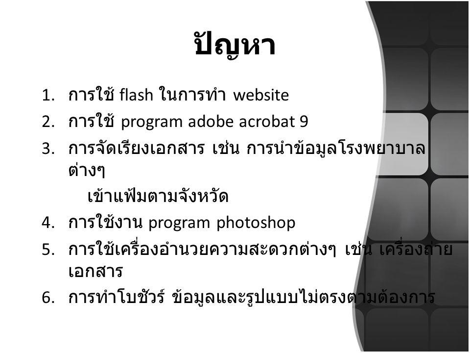 ปัญหา 1.การใช้ flash ในการทำ website 2. การใช้ program adobe acrobat 9 3.
