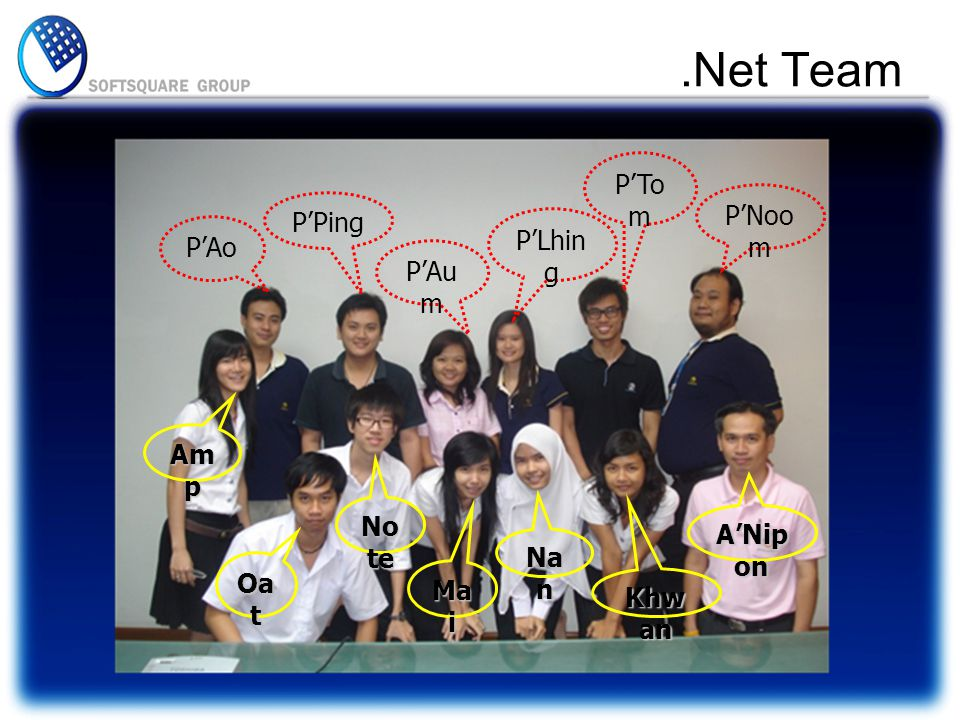 .Net Team P'Noo m P'To m P'Lhin g P'Au m P'Ping P'Ao Am p Oa t No te Ma i Na n Khw an A'Nip on