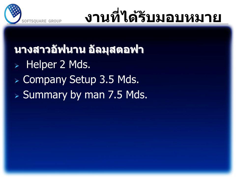งานที่ได้รับมอบหมาย นางสาวอัฟนาน อัลมุสตอฟา  Helper 2 Mds.  Company Setup 3.5 Mds.  Summary by man 7.5 Mds.