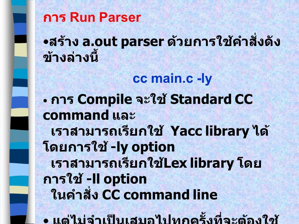 การ Run Parser lex file-name File-name เป็นชื่อของ File ที่มี Lex specifications ในการ Execute คำสั่งจะสร้าง File ที่ เรียกว่า lex.yy.c ซึ่งเป็น C pro