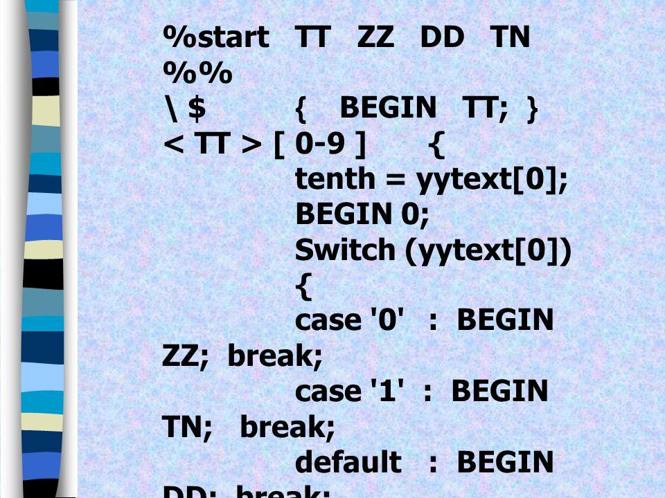 ตัวอย่างการใช้ Start Condition แปลงตัวเลขจำนวนนับสองหลักไป เป็นการแสดงด้วยตัวหนังสือ โดยให้ input ขึ้นต้นด้วย $ (Dollar sign) แล้วตามหลังด้วยตัวเลขสอง