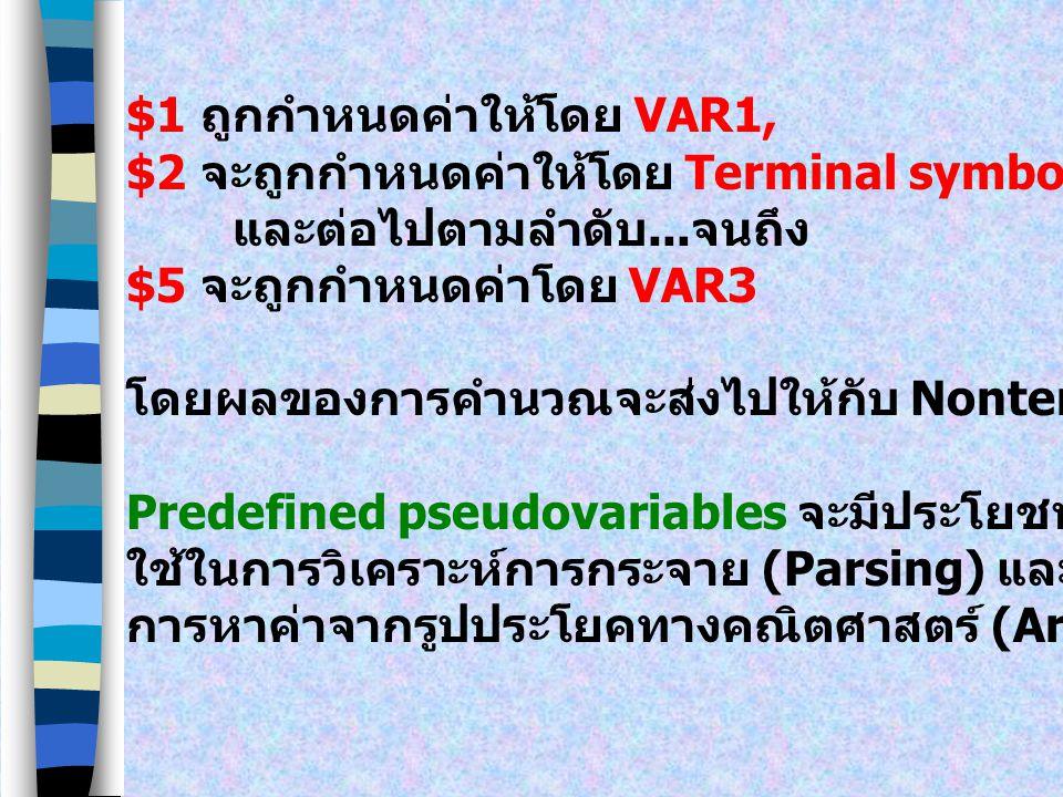 Predefined Pseudovariables ค่าที่ส่งกลับมาสำหรับแต่ละ Token โดย Lexical analyzer สามารถจะเข้าถึงและนำไปใช้งานได้ภายในกฎของ Yacc Precefined pseudovaria