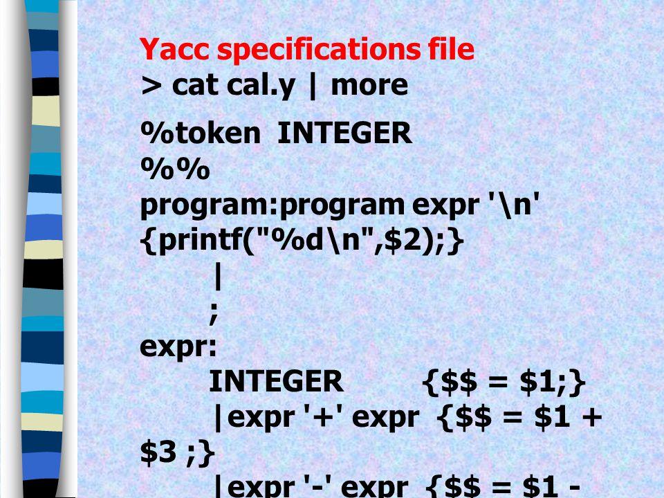 ( ต่อ ) [- +\n] return *yytext; [\t] ;. { exit(0); } % yywrap() { return 1; }