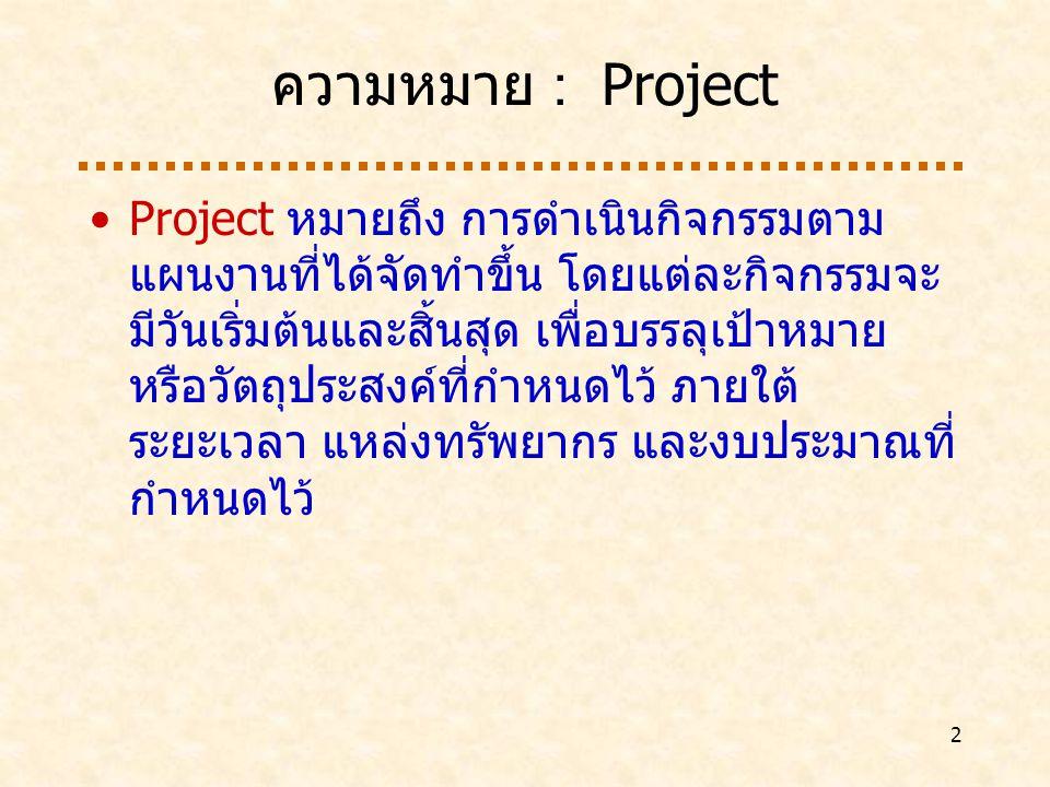 3 ความหมาย : Project Management Project Management หมายถึง กระบวนการในการกำหนด วางแผน ชี้แนะ ติดตาม และควบคุมโครงการพัฒนาระบบให้ สามารถดำเนินการได้ตามระยะเวลาและ งบประมาณที่กำหนดไว้ได้