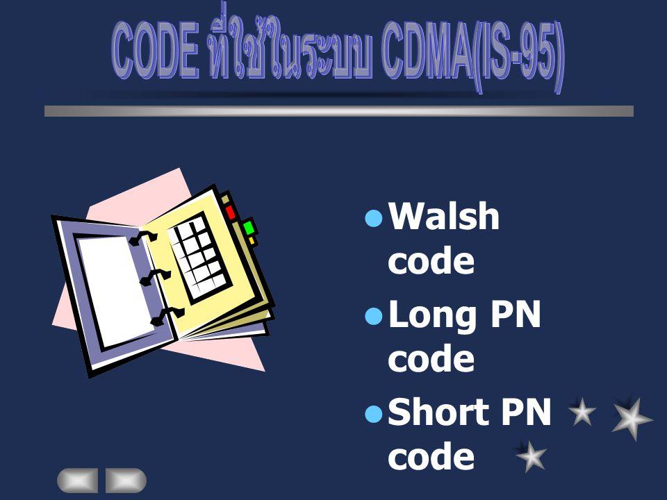 Walsh code Long PN code Short PN code