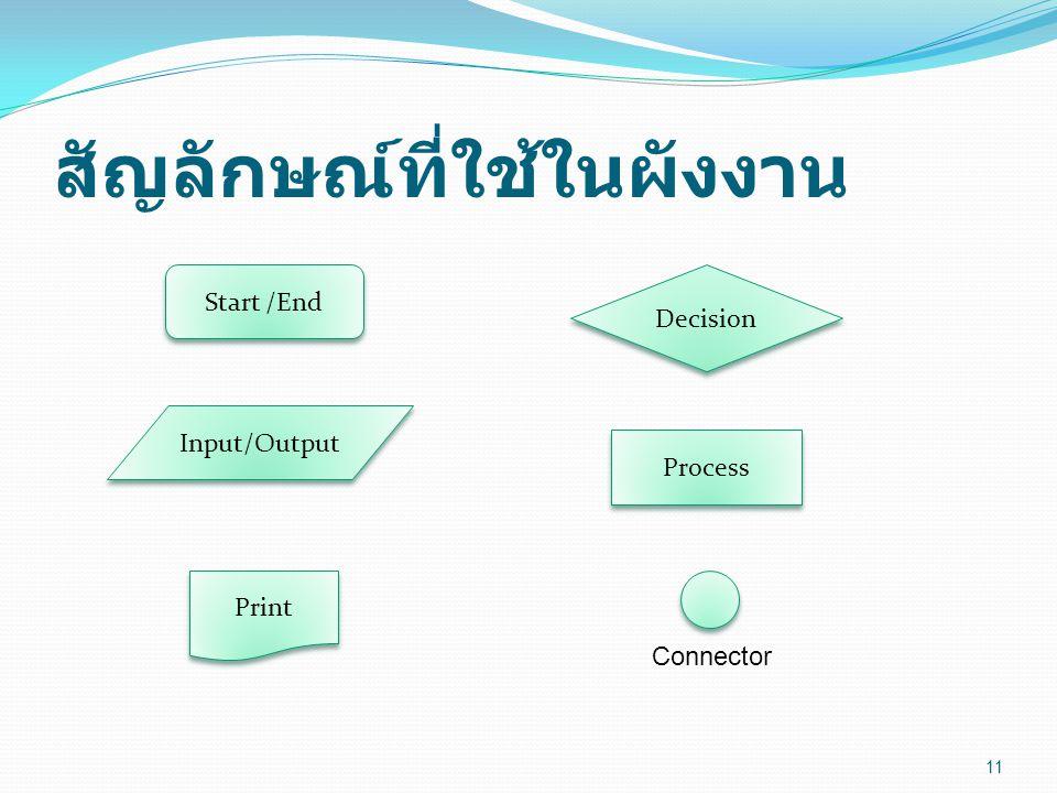สัญลักษณ์ที่ใช้ในผังงาน 11 Start /End Process Input/Output Print Decision Connector
