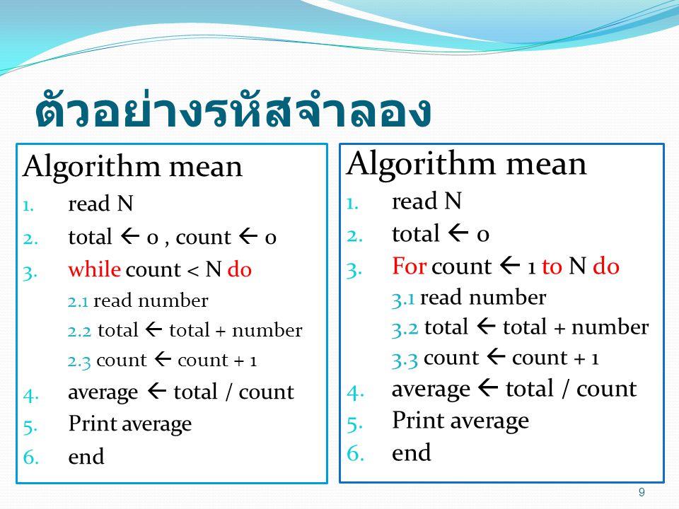 ตัวอย่างรหัสจำลอง Algorithm mean 1. read N 2. total  0, count  0 3. while count < N do 2.1 read number 2.2 total  total + number 2.3 count  count