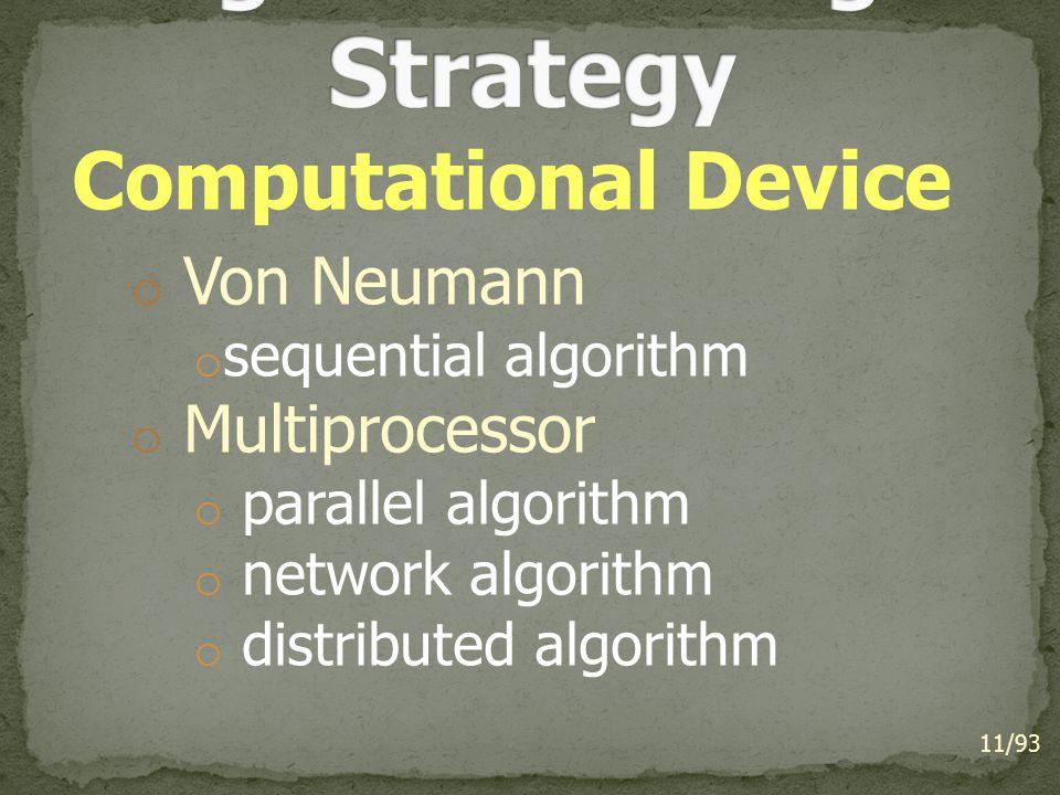 Computational Device o Von Neumann o sequential algorithm o Multiprocessor o parallel algorithm o network algorithm o distributed algorithm 11/93