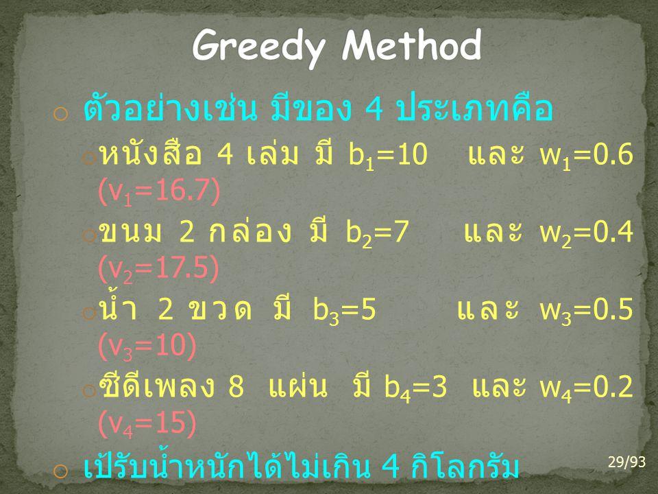 o ตัวอย่างเช่น มีของ 4 ประเภทคือ o หนังสือ 4 เล่ม มี b 1 =10 และ w 1 =0.6 (v 1 =16.7) o ขนม 2 กล่อง มี b 2 =7 และ w 2 =0.4 (v 2 =17.5) o น้ำ 2 ขวด มี