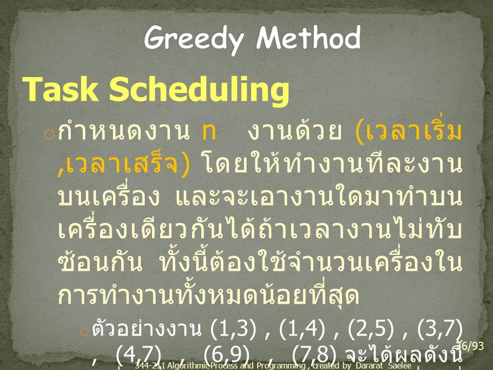 Task Scheduling o กำหนดงาน n งานด้วย ( เวลาเริ่ม, เวลาเสร็จ ) โดยให้ทำงานทีละงาน บนเครื่อง และจะเอางานใดมาทำบน เครื่องเดียวกันได้ถ้าเวลางานไม่ทับ ซ้อน