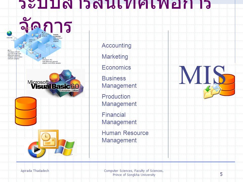 Apirada ThadadechComputer Sciences, Faculty of Sciences, Prince of Songkha University 5 ระบบสารสนเทศเพื่อการ จัดการ Accounting Marketing Economics Bus