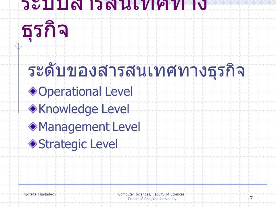 Apirada ThadadechComputer Sciences, Faculty of Sciences, Prince of Songkha University 7 ระบบสารสนเทศทาง ธุรกิจ ระดับของสารสนเทศทางธุรกิจ Operational L