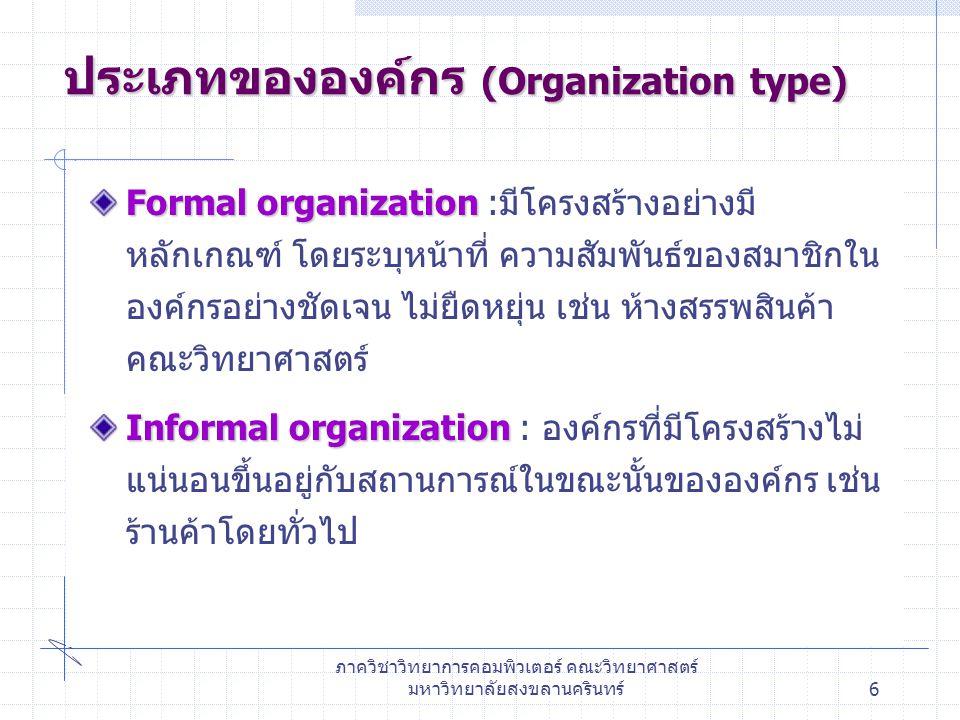 ภาควิชาวิทยาการคอมพิวเตอร์ คณะวิทยาศาสตร์ มหาวิทยาลัยสงขลานครินทร์7 โครงสร้างขององค์กร โครงสร้างองค์กรแบบงานหลัก (Line or Hierarchy Organization structure) โครงสร้างองค์กรแบบงานหลักและงานที่ปรึกษา (Line and Staff Organization structure) โครงสร้างองค์กรตามโครงการ (Project Organization structure) โครงสร้างองค์กรในรูปเมทริกซ์ (Matrix Organization structure)