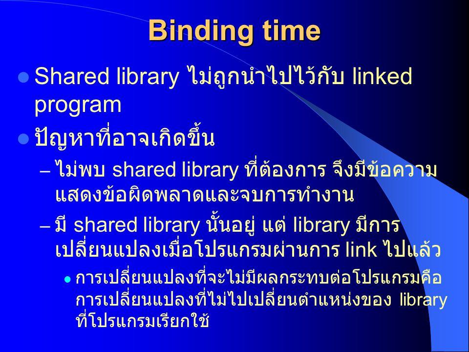 Binding time Shared library ไม่ถูกนำไปไว้กับ linked program ปัญหาที่อาจเกิดขึ้น – ไม่พบ shared library ที่ต้องการ จึงมีข้อความ แสดงข้อผิดพลาดและจบการท