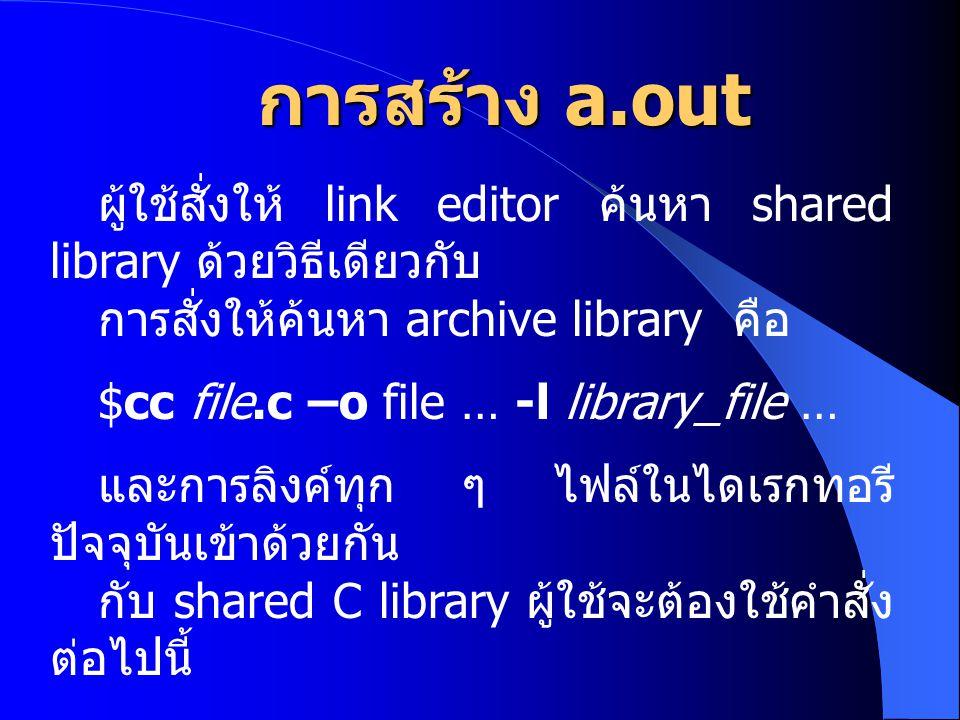 การสร้าง a.out ผู้ใช้สั่งให้ link editor ค้นหา shared library ด้วยวิธีเดียวกับ การสั่งให้ค้นหา archive library คือ $cc file.c –o file … -l library_fil