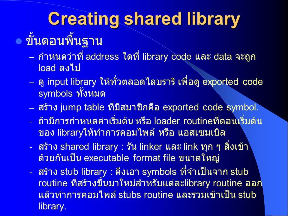 Creating shared library ขั้นตอนพื้นฐาน – กำหนดว่าที่ address ใดที่ library code และ data จะถูก load ลงไป – ดู input library ให้ทั่วตลอดไลบรารี เพื่อดู