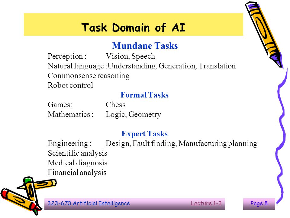 323-670 Artificial Intelligence Lecture 1-3Page 8 Task Domain of AI Mundane Tasks Perception :Vision, Speech Natural language :Understanding, Generati