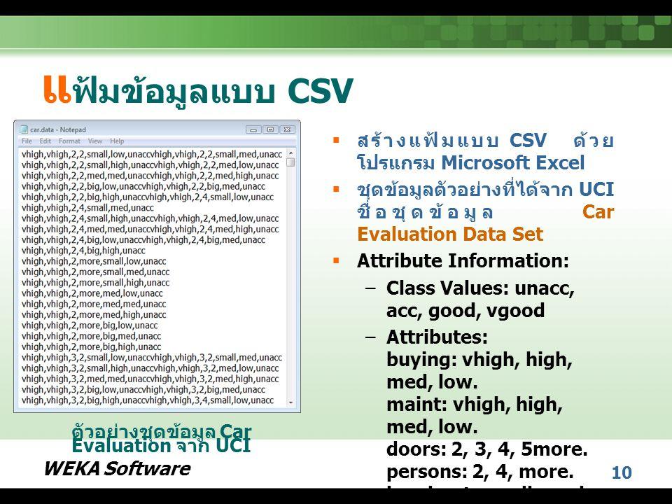 WEKA Software 10 แ ฟ้มข้อมูลแบบ CSV  สร้างแฟ้มแบบ CSV ด้วย โปรแกรม Microsoft Excel  ชุดข้อมูลตัวอย่างที่ได้จาก UCI ชื่อชุดข้อมูล Car Evaluation Data