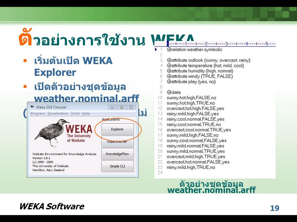 WEKA Software 19 ตั วอย่างการใช้งาน WEKA  เริ่มต้นเปิด WEKA Explorer  เปิดตัวอย่างชุดข้อมูล weather.nominal.arff ( ลักษณะเฉพาะทุกตัวมีค่าไม่ ต่อเนื่