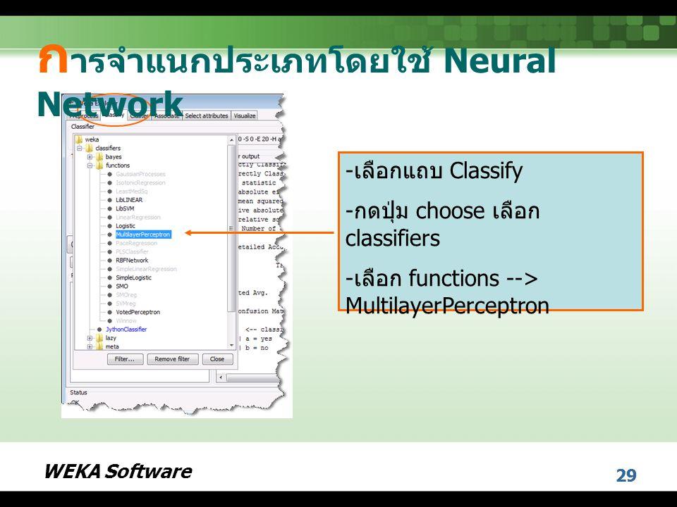 WEKA Software 29 - เลือกแถบ Classify - กดปุ่ม choose เลือก classifiers - เลือก functions --> MultilayerPerceptron ก ารจำแนกประเภทโดยใช้ Neural Network