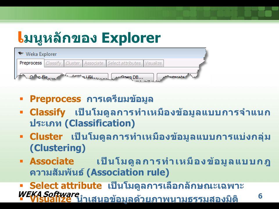WEKA Software 6 เ มนูหลักของ Explorer  Preprocess การเตรียมข้อมูล  Classify เป็นโมดูลการทำเหมืองข้อมูลแบบการจำแนก ประเภท (Classification)  Cluster