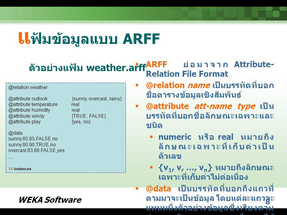 WEKA Software 19 ตั วอย่างการใช้งาน WEKA  เริ่มต้นเปิด WEKA Explorer  เปิดตัวอย่างชุดข้อมูล weather.nominal.arff ( ลักษณะเฉพาะทุกตัวมีค่าไม่ ต่อเนื่องทั้งหมด ) ตัวอย่างชุดข้อมูล weather.nominal.arff