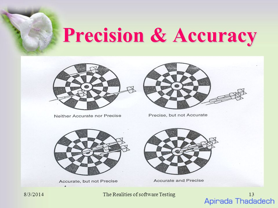 8/3/2014The Realities of software Testing13 Precision & Accuracy