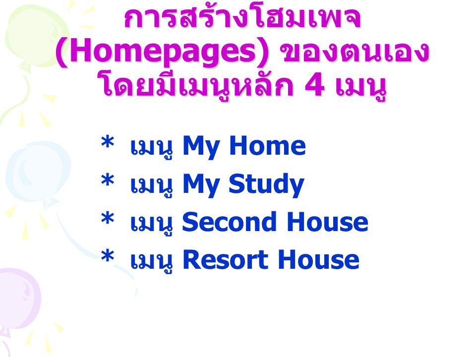 การสร้างโฮมเพจ (Homepages) ของตนเอง โดยมีเมนูหลัก 4 เมนู * เมนู My Home * เมนู My Study * เมนู Second House * เมนู Resort House