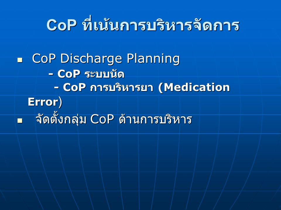 CoP ที่เน้นการบริหารจัดการ CoP Discharge Planning - CoP ระบบนัด - CoP การบริหารยา (Medication Error ) CoP Discharge Planning - CoP ระบบนัด - CoP การบร