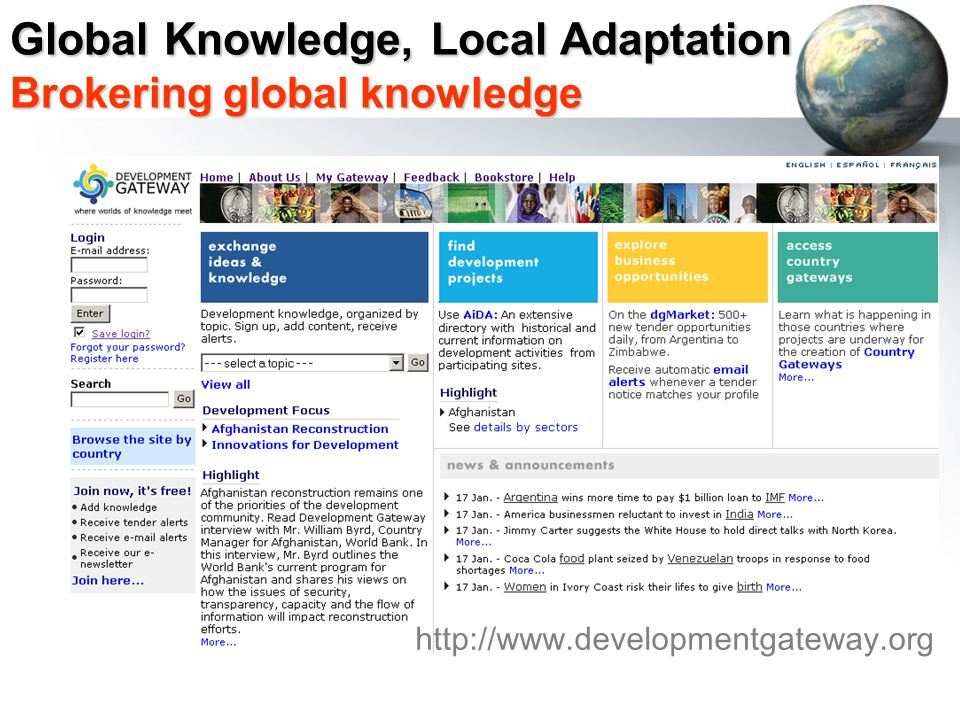 http://www.developmentgateway.org Global Knowledge, Local Adaptation Brokering global knowledge
