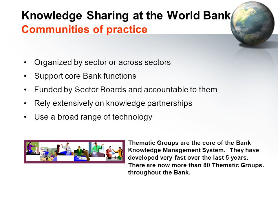 Knowledge Sharing at the World Bank Communities of practice Organized by sector or across sectors Support core Bank functions Funded by Sector Boards and accountable to them Rely extensively on knowledge partnerships Use a broad range of technology Thematic Groups are the core of the Bank Knowledge Management System.