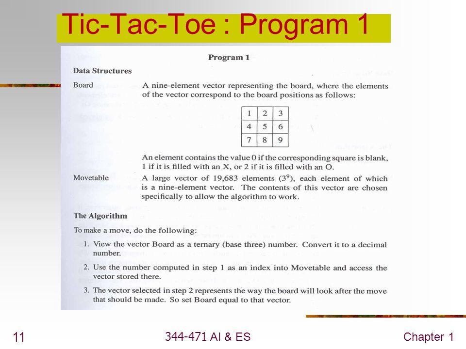 344-471 AI & ESChapter 1 11 Tic-Tac-Toe : Program 1